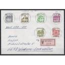 Letterset kompletter Satz zentrisch gestempelt mit Nummer auf portogerechtem Wertbrief