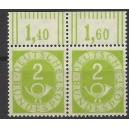 Mi. Nr. 123 senkrechtes Paar vom rechten Rand mit Bogenlaufnummer postfrisch