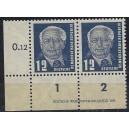 Mi. Nr. 323za XII  Eckrandpaar links unten mit Druckvermerk 1 postfrisch Kurzbefund