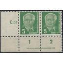 Mi. Nr. 322zb XII  Eckrandpaar links unten mit Druckvermerk 1 postfrisch Kurzbefund