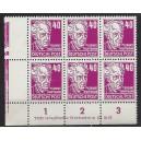 Mi. Nr. 336vb XII  Eckrandsechserblock links unten mit Druckerzeichen 3 postfrisch