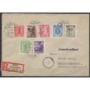 Mi. Nr 1B-7B zickzackförmiger Durchstich auf Brief