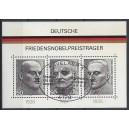 Block 11 (Mi. Nr. 871-873) Friedensnobelpreisträger mit Sonderstempel und ausgefallenem Zahnloch links unten