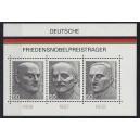 Block 11 (Mi. Nr. 871-873) Friedensnobelpreisträger postfrisch extrem nach links verschnitten