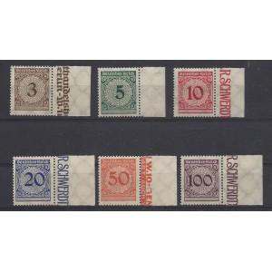 Mi. Nr. 338-343 postfrisch einheitlich mit rechtem Rand vom Plattendruck