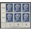 Mi. Nr. 323 Za XI Eckrandsechserblock links unten mit Druckvermerk postfrisch