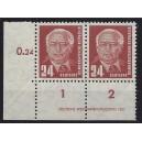 Mi. Nr. 324 Za X I Eckrandpaar links unten mit DV 1 postfrisch