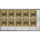 Mi. Nr. 345b im Eckrandzehnerblock rechts unten mit Ersttagsonderstempel gestempelt