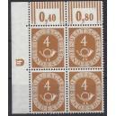 Mi. Nr. 124 Eckrandviererblock links oben postfrisch mit Druckerzeichen negativ 4 ohne Nagelkopf