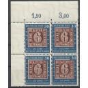 Mi. Nr. 113-115 Eckrandviererblock links oben mit 6 Plattenfehlern