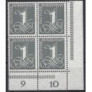 Mi. Nr. 226v Eckrandviererblock rechts unten postfrisch