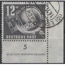 Mi. Nr. 245 im Eckrand rechts unten mit Druckvermerk mit Tagesstempel entwertet