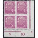 179P Eckrandviererblock rechts unten mit Druckerzeichen Lo postfrisch