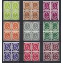 Mi. Nr. 123-131 in Viererblöcken postfrisch Luxus