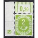 Mi. Nr. 123 Eckrand links oben mit Druckerzeichen negativ 2