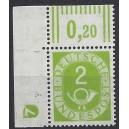 Mi. Nr. 123 Eckrand links oben mit Druckerzeichen negativ 7