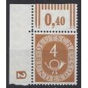 Mi. Nr. 124 Eckrand links oben mit Druckerzeichen negativ 2