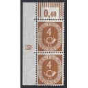 Mi. Nr. 124 Eckrandpaar links oben mit Druckerzeichen negativ 5