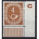 Mi. Nr. 124 Eckrand rechts unten mit Druckerzeichen negativ 9