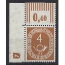 Mi. Nr. 124 Eckrand links oben mit Druckerzeichen negativ 7 mit Schraubenkopf