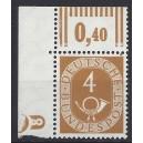 Mi. Nr. 124 Eckrand links oben mit Druckerzeichen negativ 8 mit Schraubenkopf