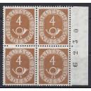 Mi. Nr. 124 Viererblock vom rechten Rand mit Bogenlaufnummer postfrisch