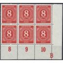 """Eckrand 6er Block von Mi. Nr. 917 mit dem extrem seltenen Druckerzeichen """"B"""""""
