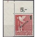 Mi. Nr. 67 im Eckrand links oben mit Plattennummer 1