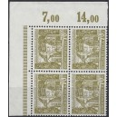 Mi. Nr. 123 Eckrandviererblock links oben, bzw. rechts oben postfrisch