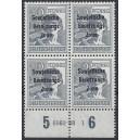 Mi. Nr. 186 Hausauftragsnummer (HAN) im Viererblock postfrisch