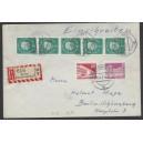 146R und 182 R 5er-Streifen auf portogerechtem R-Brief