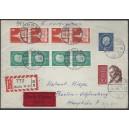 182R und 187R 4er-Streifen auf portogerechtem R-Eilboten-Brief