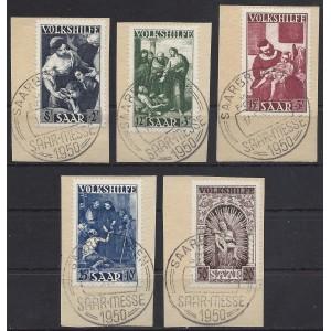 Mi. Nr. 267 - 271 gestempelt auf Briefstücken mit Fotoattest