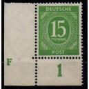 Mi. Nr. 922 Druckerzeichen (DZ) F Eckrand links unten