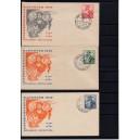 Mi. Nr 103-105 mit passenden Sonderstempeln auf drei Ersttagsbriefen