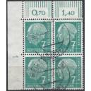 Mi. Nr.181 vW Eckrandviererblock links oben mit Druckerzeichen 1 gestempelt