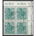 Mi. Nr. 415 DKV 2 im Eckrandviererblock mit Tagesstempel