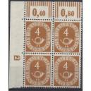 Mi. Nr. 124 Eckrandviererblock links oben postfrisch mit Druckerzeichen negativ 2 ohne Nagelkopf