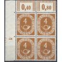 Mi. Nr. 124 Eckrandviererblock links oben postfrisch mit bisher unbekanntem Druckerzeichen positiv 1 mit Nagelkopf