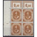 Mi. Nr. 124 Eckrandviererblock links oben postfrisch mit bisher unbekanntem Druckerzeichen positiv 1 mit schwachem Nagelkopf