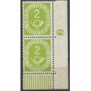 Mi. Nr. 123 Eckrandpaar rechts unten postfrisch mit Druckerzeichen negativ 2 ohne Nagelkopf