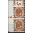 Mi. Nr. 124  Eckrandpaar mit Druckerzeichen negativ 4 postfrisch