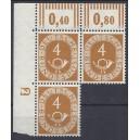 Mi. Nr. 124 Eckrandeinheit links oben postfrisch mit Druckerzeichen negativ 2 ohne Nagelkopf