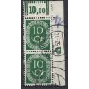 Mi. Nr. 128 Eckrandpaar rechts oben sauber gestempelt mit Druckerzeichen negativ 9 und rechts dünnem Walzenstrich