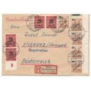 Phantastischer portogerechter Brief mit Mi. Nr. 65 als Eckrandeinheit rechts oben mit Druckerzeichen 1