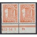 Mi. Nr. 50 Unterrandpaar  postfrisch mit extrem seltenem Druckerzeichen Fr