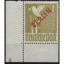 Mi. Nr. 33 Eckrand links unten postfrisch mit Plattennummer 6 spiegelverkehrt