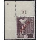 Mi. Nr. 34 Eckrand links oben postfrisch mit Plattennummer 4 spiegelverkehrt und Abklatsch der Plattennummer 3 s