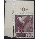 Mi. Nr. 34 Eckrand links oben postfrisch mit Plattennummer 3 spiegelverkehrt und Abklatsch der Plattennummer 4 s