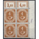 Mi. Nr. 124 Eckrandvierblock rechts oben